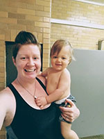 Jen and Gabriel at swimming lessons at North Boroughs YMCA